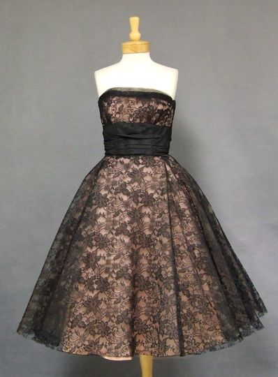 1950's cocktail dress in black lace over pink tulle, all lined in pink acetate, by Henry A. Conder.