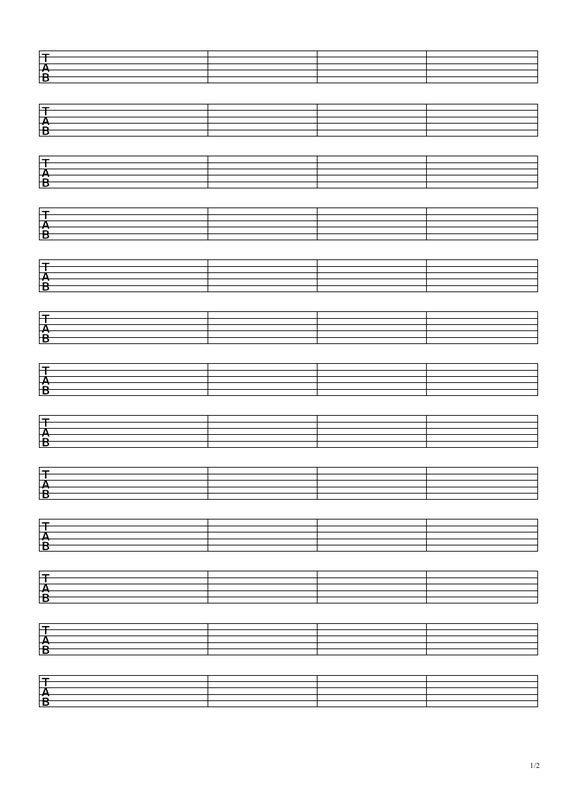 Blank guitar tablature sheets Download a free PDF at http - music paper template