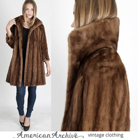 vintage 60s MINK FUR COAT Plush Real Brown by americanarchive