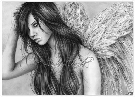 Best ideas about drawings of angels fantasy drawings and for Dark angel coloring pages