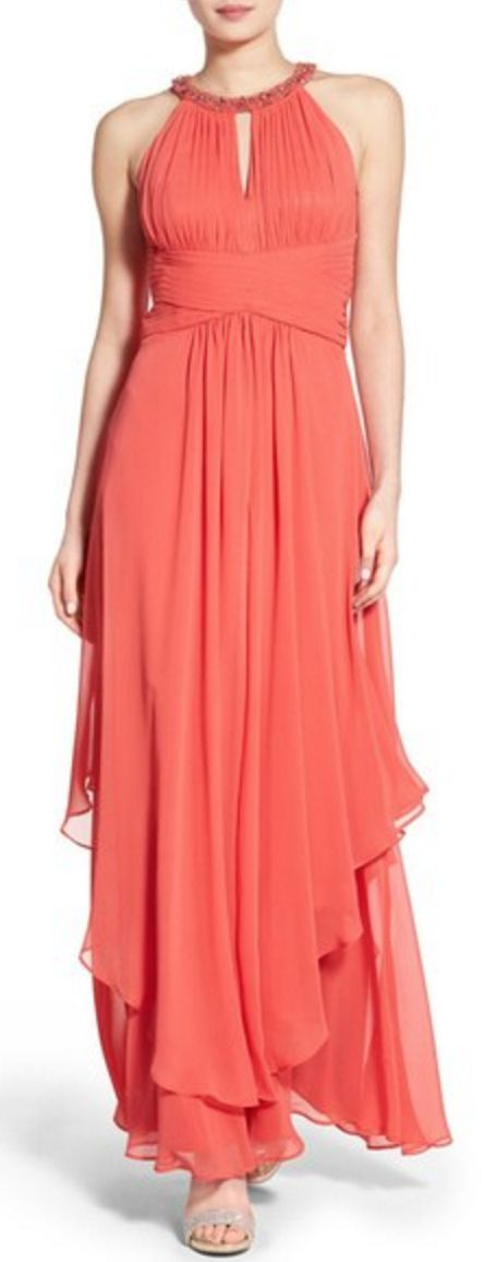 Embellished Triered Halter Dress in Coral