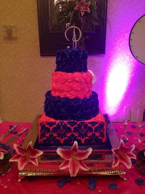 4 tier rosette damask wedding cake