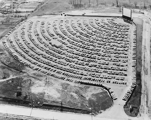 drive-in cinema, south bend,indiana,1950