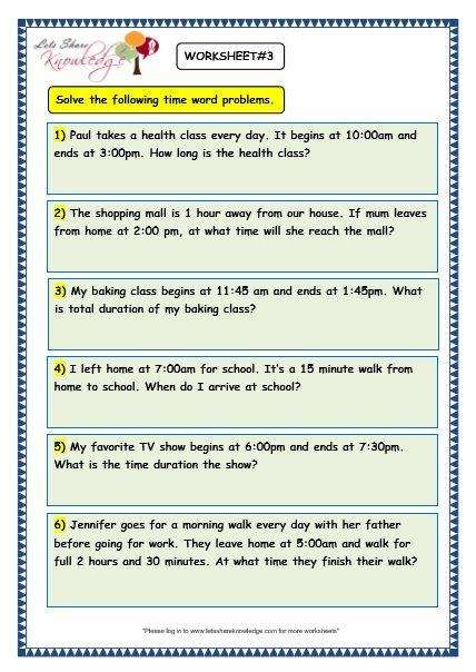 Grade 3 Maths Worksheets 8 5 Time Problems Lets Share Knowledge Word Problem Worksheets 3rd Grade Math Math Word Problems Fraction word problems worksheets 3rd