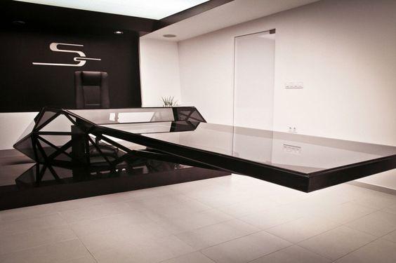 Futuristic Designs Design, Interior Design Ideas, Minimalist - futuristische buro einrichtung mit metall 3d wandpaneelen