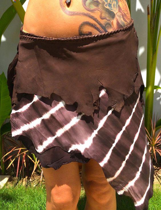 Brown Tie-Dye Leather Belt Skirt