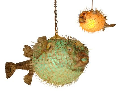 Fish tropical and tiki bars on pinterest for Puffer fish lamp