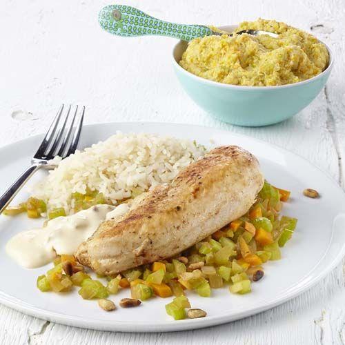 Gebakken kip met groenteblokjes en roomsaus (baby eet mee)