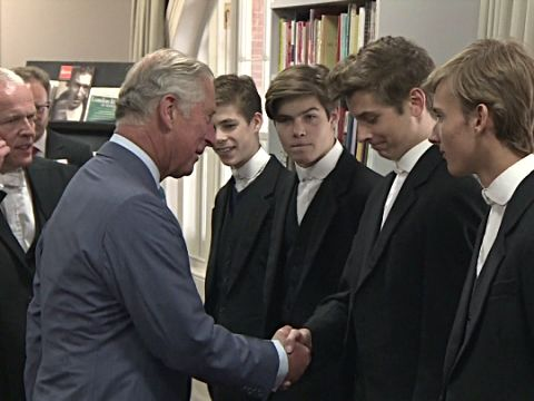 Prince Charles meeting faculty and students at Eton College. A ...