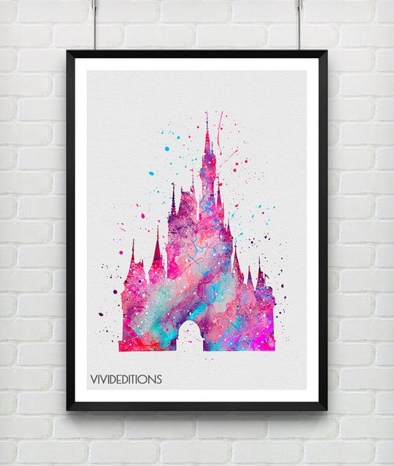 Cinderella's Castle Disney Watercolor Art Print by VIVIDEDITIONS