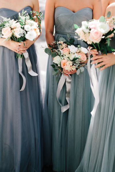 Romantic spring wedding at turnip rose garden promenade for Gray dresses for a wedding