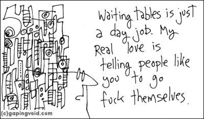 Waiting tables.