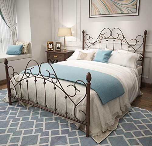 Urodecor Queen Platform Metal Bed Frame With Headboard And