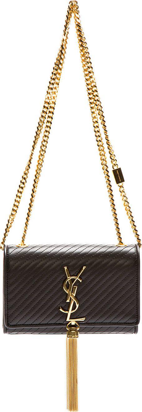 replica bags bangkok - Saint Laurent - Black Quilted Leather Monogram Small Shoulder Bag ...