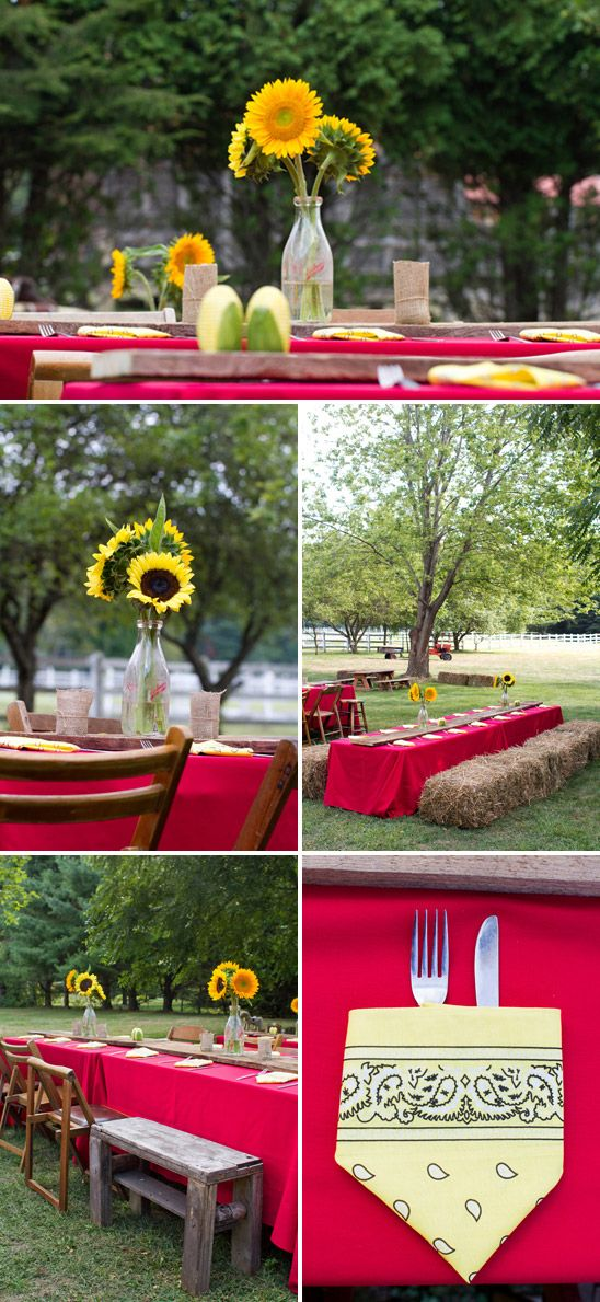 Country themed party tables sunflowers as