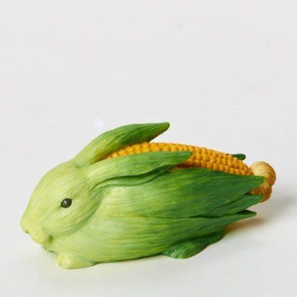Home Grown Corn Cob Bunny Figurine: