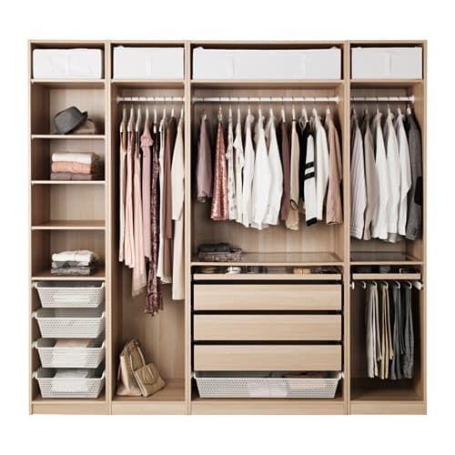 Ikea Pax Cassettiera Interna.Pax Wardrobe White Stained Oak Effect 250x58x236 Cm Bedroom