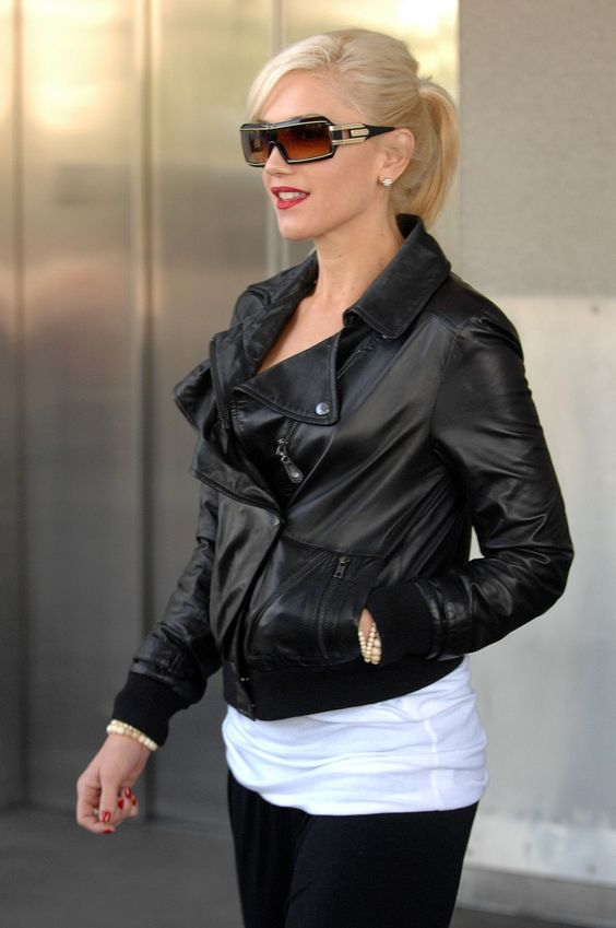 gwen stefani. file this coat under MUST HAVE. i have a very cheap bomber jacket - not leather - that i got at h YEARS ago.....and i've been searching for a worthy replacement with no luck....