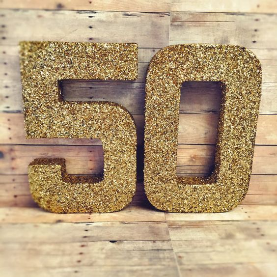 Glitter numbers wedding anniversary decor 50th center by Ajobebe