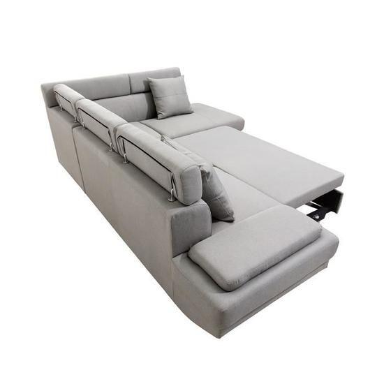 Tomas Canape D Angle Droit Convertible 4 Places Tissu Taupe Scandinave L 249 X P 82 175 Cm Achat Vente Canape Sofa Divan Canape Angle