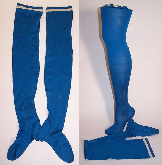 Victorian Ladies Bright Blue Silk Seam Thigh High Garter Stockings Socks.: