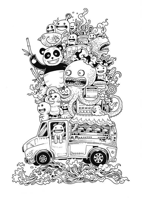 Galerie de coloriages gratuits coloriage-doodle-doodling-12. Drôles de personnages sur une voiture
