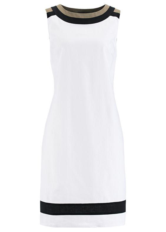 La robe en mélange lin olive clair/blanc/noir - Femme - bonprix.fr