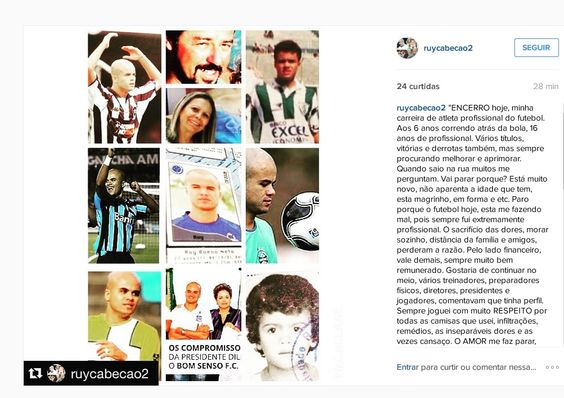"""Ruy Cabeção anuncia aposentadoria: """"O futebol está me fazendo mal"""" #globoesporte"""