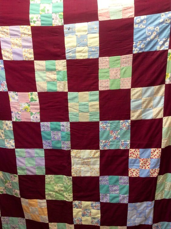centn cuadrados del edredn de algodn s patchwork stitched multi hand stitched squares vintage s cotton hand