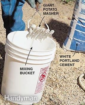 Mixing white Portland cement and water in a pail before whitewashing a stucco wall.