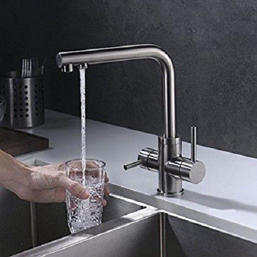 3 Wege Küchenarmatur Einhandmischer Wasserhahn Mischbatterie Trinkwasser Armatur