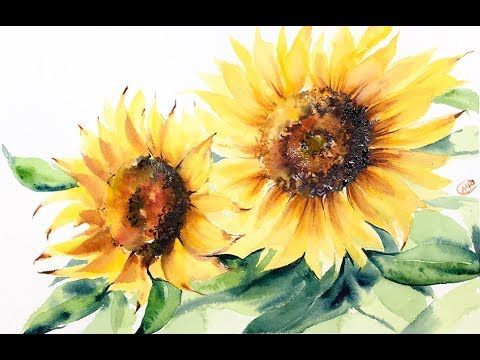 1 Watercolor Sunflowers Painting Demo Youtube Sunflower