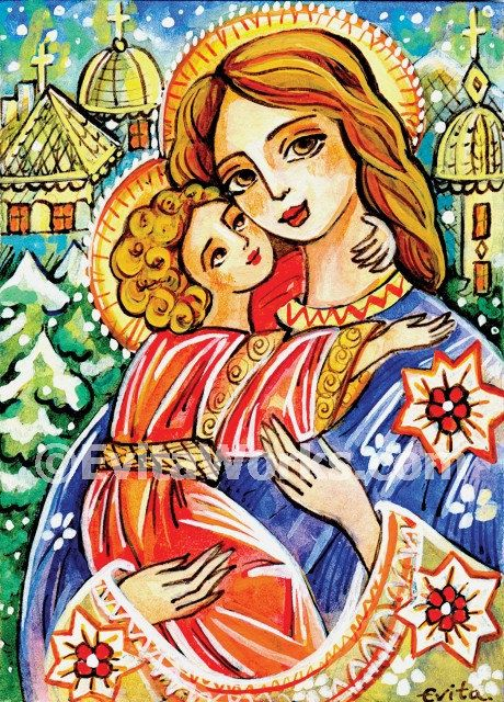 Folk Art Icon Religious Painting Mary and Jesus Madonna and Child Virgin Mary Mother Wall Decor, greeting card, Art Card (A5), 5.8x8.3
