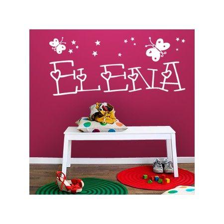 Vinilos para pared con el nombre elena con mariposas y - Vinilos infantiles pared gotele ...