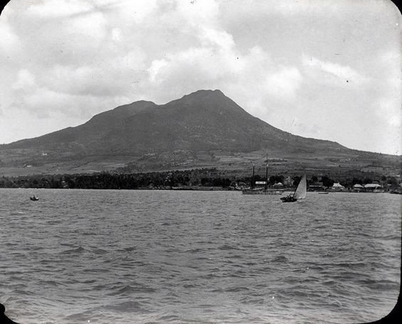Photo of Nevis from the sea via a freighter ! 124 years ago in the 1890's