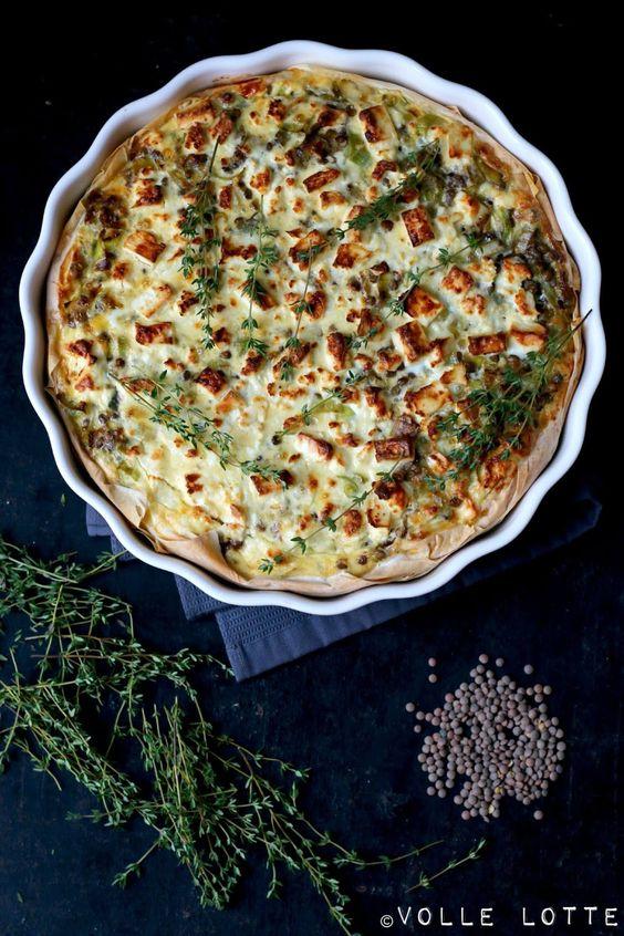 Linsen-Quiche mit Thymian und Schafskäse #ichbacksmir #kräuter