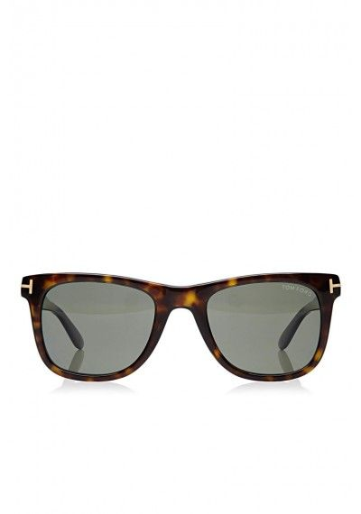 TOM FORD 'Leo' Squared Polarised Sunglasses Classic Havana Brown | Shiny Havana frame with rose gold metal 'T' detail and green polarised anti-reflecting lenses with 100% UVA/UVB protection.