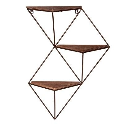25 38 X17 5 Three Step Wood And Metal Geometric Wall Shelf Black