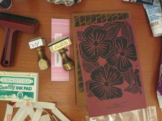 Hand-carved wood cut printed to make cards #wood_carving #flowers #print