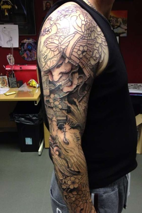 Samurai-and-dragon-koi-sleeve-tattoo-152381.jpeg (600×900 ...
