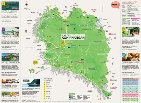 Map of Koh Phangan and Koh Samui. Graphic design, map design, info design. by JossFrank.com
