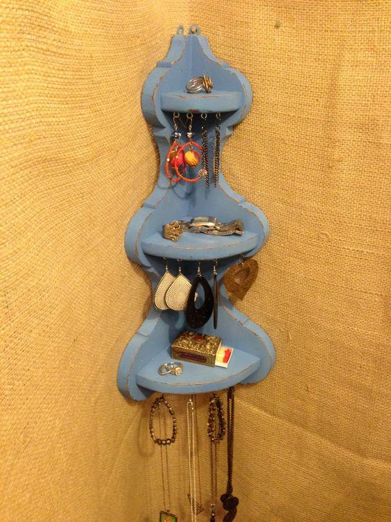 Upcycled Jewelry Organizing Display Blue Corner by KelkoDesign, $55.00