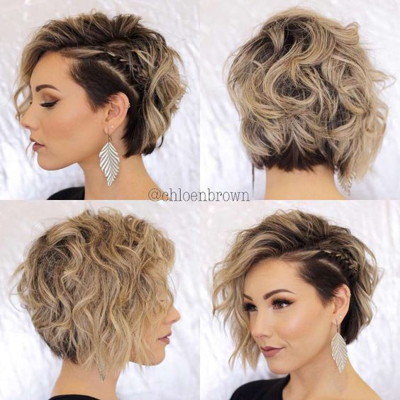 Hairstyles For Short Curly Hair Asimetrik Sac Modelleri Kisa