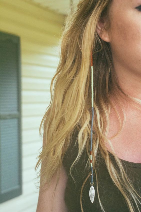 DIY Embroidery Floss Hair Wrap Tutorial from Always Rooney here. For a roundup of 9 DIY Thread Hair Wraps go here.