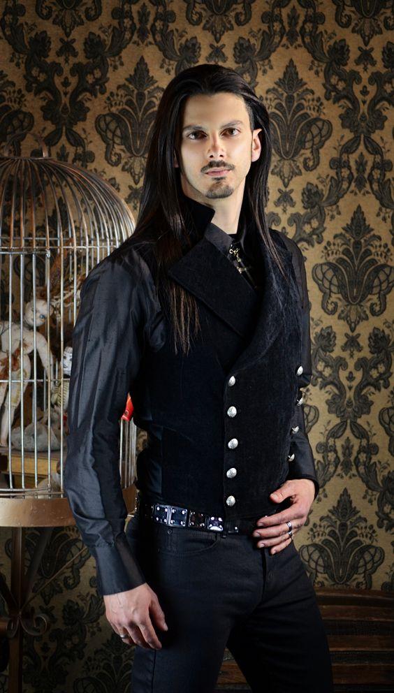 Gothic Steampunk Clothing Men   CAVALIER VEST - BLACK VELVET: