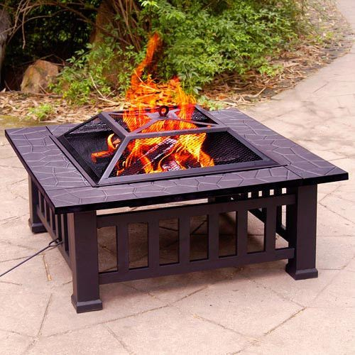 32 Inch Square Fire Pit Outdoor Fireplace Heater BBQ Wood