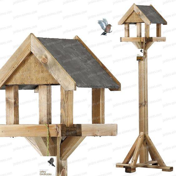 Mangeoire sur pied toit ardoise  Mangeoires Bains dOiseaux ~ Fabriquer Mangeoire Oiseau Bois