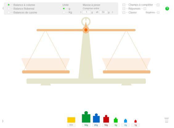 Une balance interactive (balance Roberval, à colonne ou de cuisine) pour découvrir les masses et manipuler de manière ludique sur le TNI ou l'ordinateur.