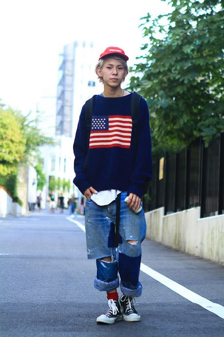 americana in the right proportions.     ストリートスナップ [カワイ コウジ] | BEAMS, CONVERSE, dude | 表参道 | Fashionsnap.com