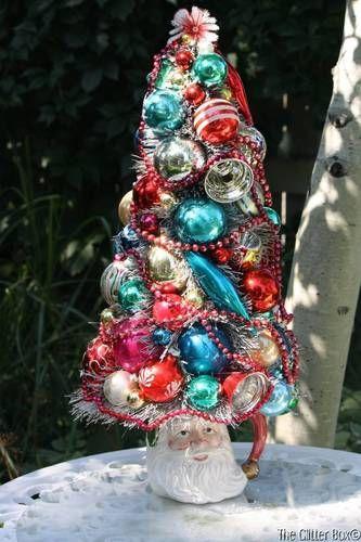 Vintage Ornament Bottle Brush Christmas Tree Large Vintage Santa MUG Shabby | eBay